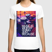 Music Womens Fitted Tee White SMALL