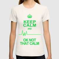 Keep Calm Womens Fitted Tee Natural SMALL