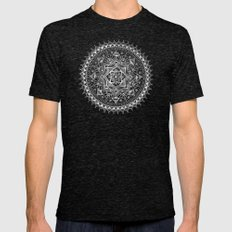 White Flower Mandala on Black Mens Fitted Tee Tri-Black SMALL