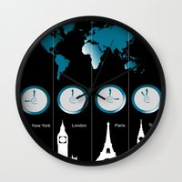 TIME ZONES. NEW YORK, LONDON, PARIS, TOKYO Wall Clock