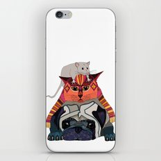 mouse cat pug white iPhone & iPod Skin