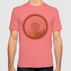 Moon & Mountains Mens Fitted Tee Pomegranate SMALL