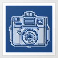 I Still Shoot Film Holga Logo - Reversed Blue Art Print