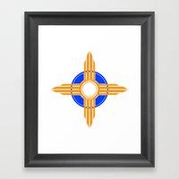 New Mexico Zia - Blue Framed Art Print
