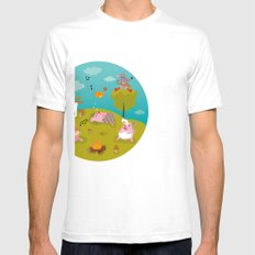 Three little PIG Mens Fitted Tee SMALL White