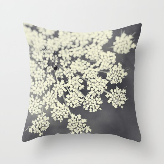 Black and White Queen Annes Lace Throw Pillow