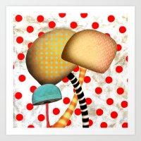 Mushrooms In Wonderland Art Print