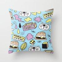 Cat Jams Throw Pillow