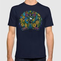 peacock garden white Mens Fitted Tee Navy SMALL