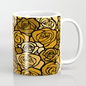 Romantic Yellow roses with black outline Mug