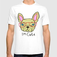 I'm Cute French Bulldog Mens Fitted Tee White SMALL