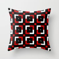 Pattern Black White Red Throw Pillow