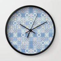 Blue Floor Tile Mashup Wall Clock