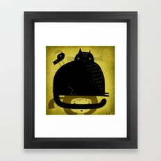 BLACK CAT AND BIRD ON HED Framed Art Print