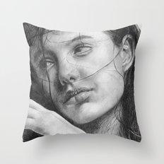 Angelina Jolie Traditional Portrait Print Throw Pillow