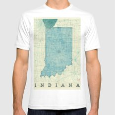 Indiana State Map Blue Vintage Mens Fitted Tee SMALL White