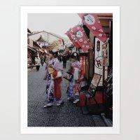 Girls In Kimono Art Print