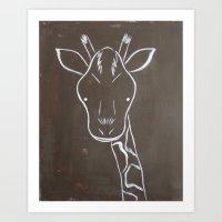 No. 004 - The Giraffe (Modern Kids & Nursery Art) Art Print