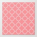 Moroccan White and Coral Canvas Print