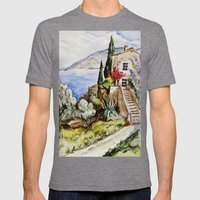 Èze Village Mens Fitted Tee Tri-Grey SMALL