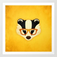 Hipster Badger: Gold Art Print