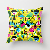 Geomonsters Throw Pillow