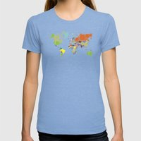 The World Goes Round & Round Womens Fitted Tee Tri-Blue SMALL