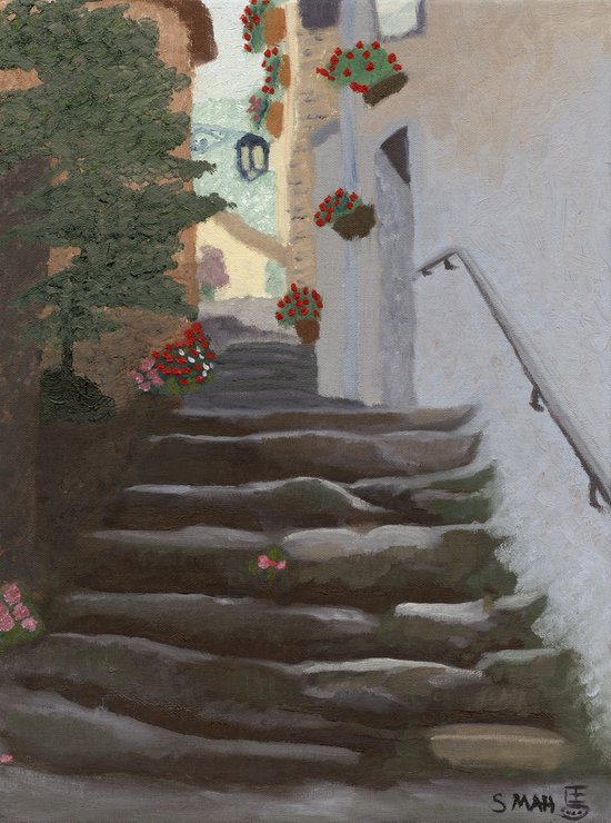Italian Street and Stairs  Canvas Print