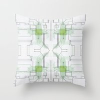 Circuit Board Green Repe… Throw Pillow