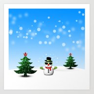 Cool Snowman And Sparkly… Art Print