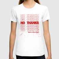 No Thanks Womens Fitted Tee White SMALL