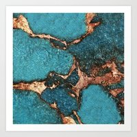 AQUA & GOLD GEMSTONE Art Print