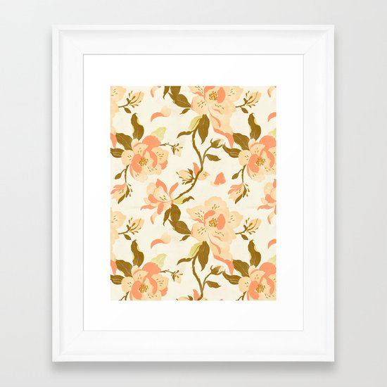 Magnolia Pattern Framed Art Print