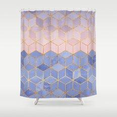 Rose Quartz & Serenity Cubes Shower Curtain