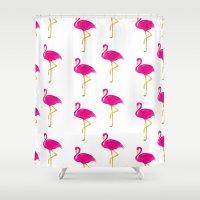 Gold Flamingo Shower Curtain