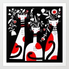 VASE CATS Art Print