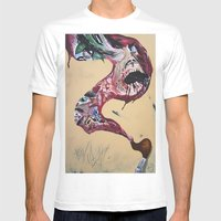 Brushstroke Mens Fitted Tee White SMALL