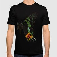 Sunset Moth Wing Mens Fitted Tee Black SMALL
