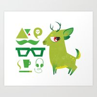 Hipsdeer (green) Art Print