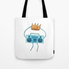 boombox holding a paper crown Tote Bag