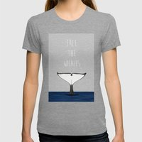 FREE THE WHALES Womens Fitted Tee Tri-Grey SMALL