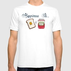 Happiness Is Toast & Jam Mens Fitted Tee White SMALL