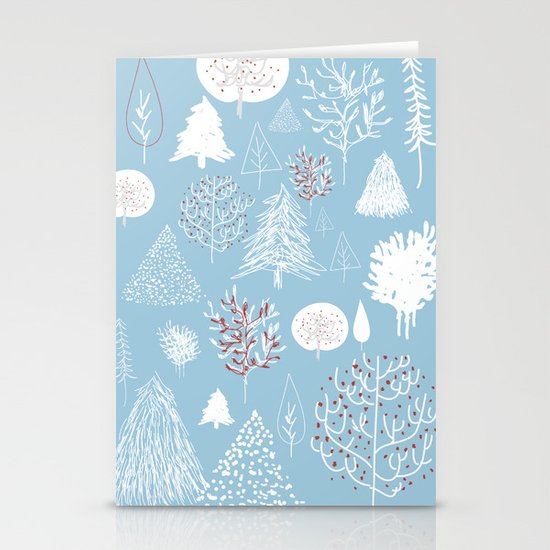 Christmas forest Stationery Card