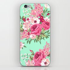 Cottage Chic Roses and Lilacs Floral in Aqua and Pink iPhone & iPod Skin