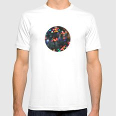 Valentine Love Heart Bokeh circle print White Mens Fitted Tee SMALL