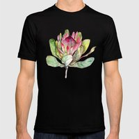 Protea Flower Mens Fitted Tee Black SMALL