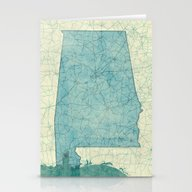Alabama Map Blue Vintage Stationery Cards