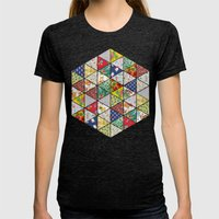 Geometric Floral Quilt Womens Fitted Tee Tri-Black SMALL