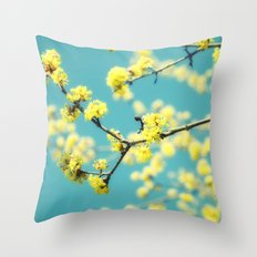 Yellow Spring blossoms Throw Pillow