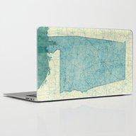 Alabama Map Blue Vintage Laptop & iPad Skin